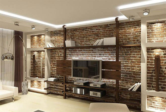 комната дизайн вариант потолок освещение