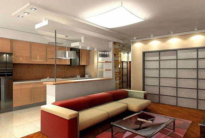 интерьер квартиры с напольной плиткой