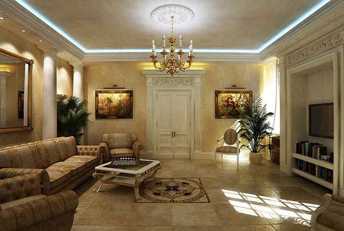 дизайн комнаты с двухуровневыми потолками